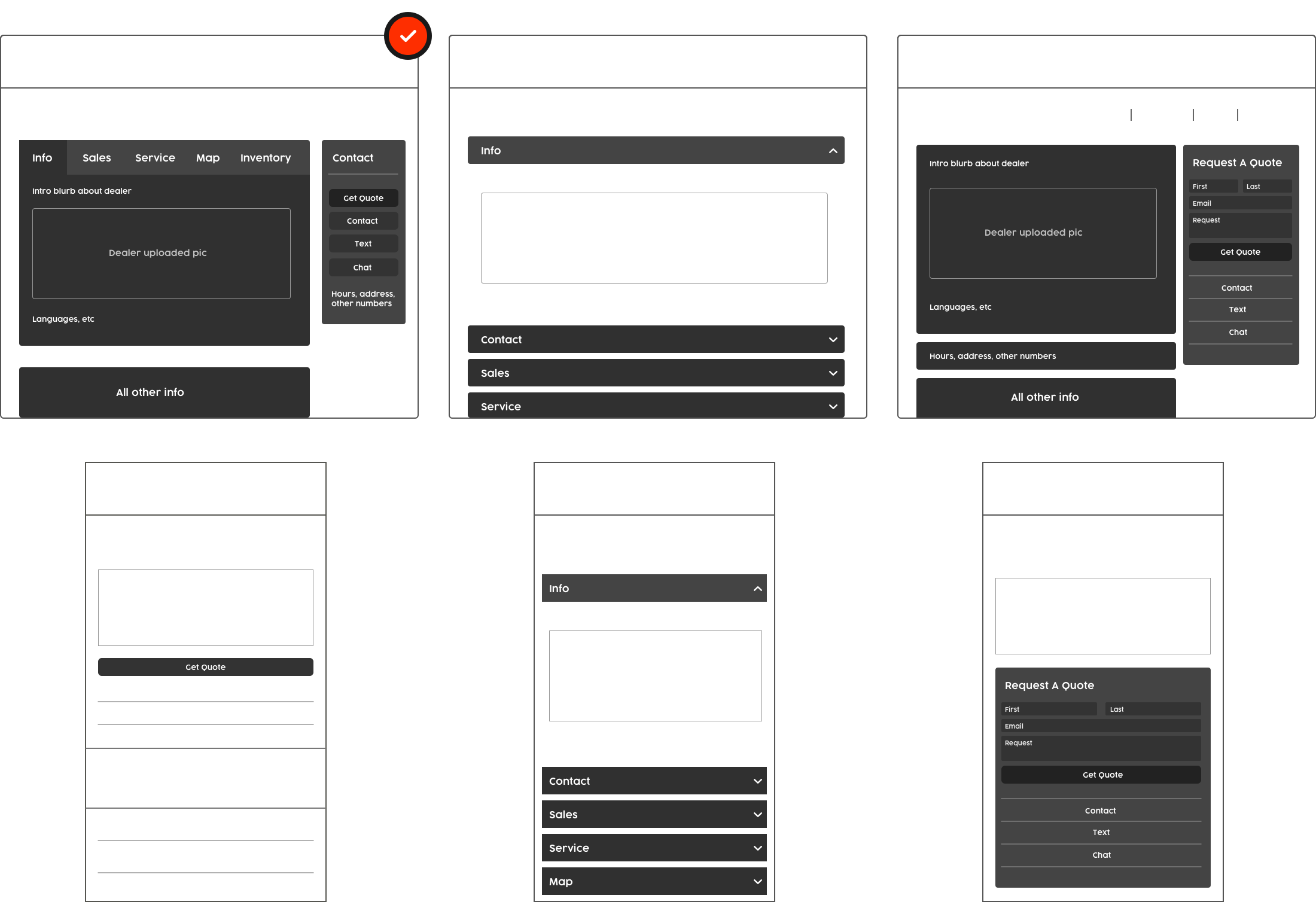 The dealership wireframes
