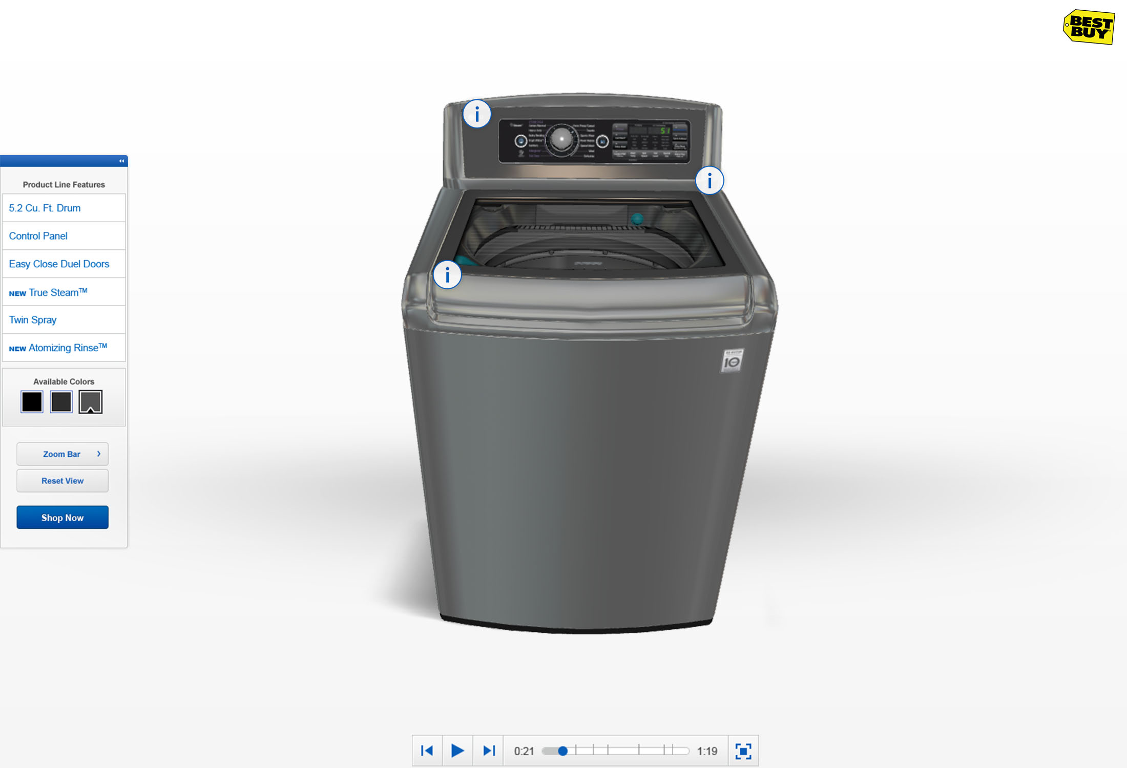 Mouse cursor over an info graphic on a 3d Samsung washer.