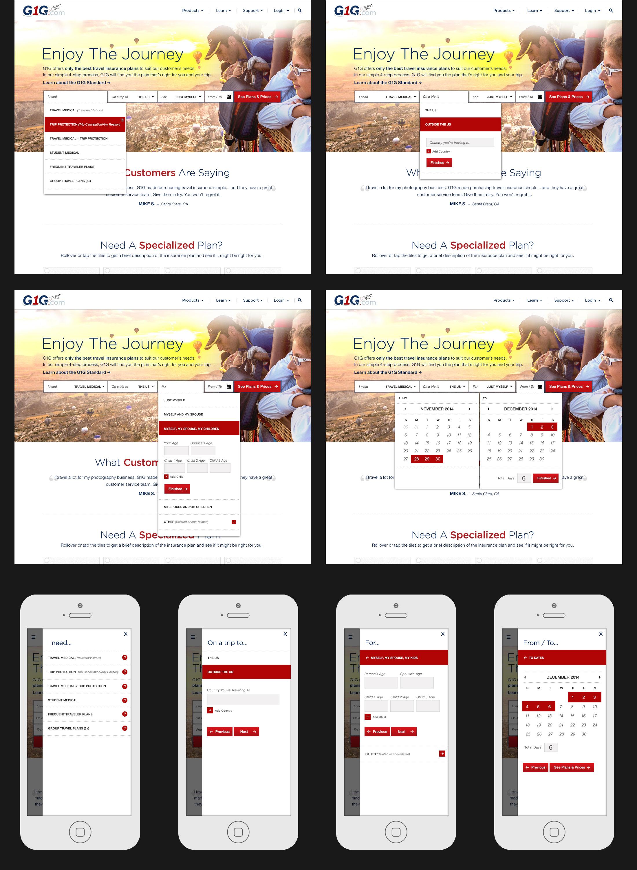 Main form design, including mobile