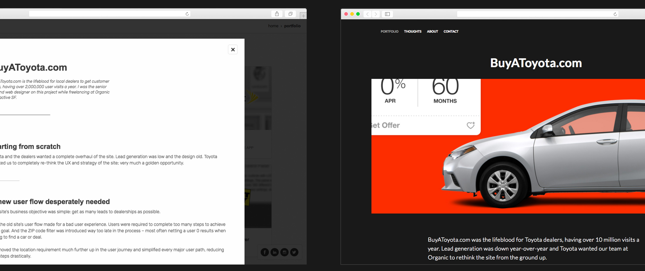 Image of my old site compared to the new one