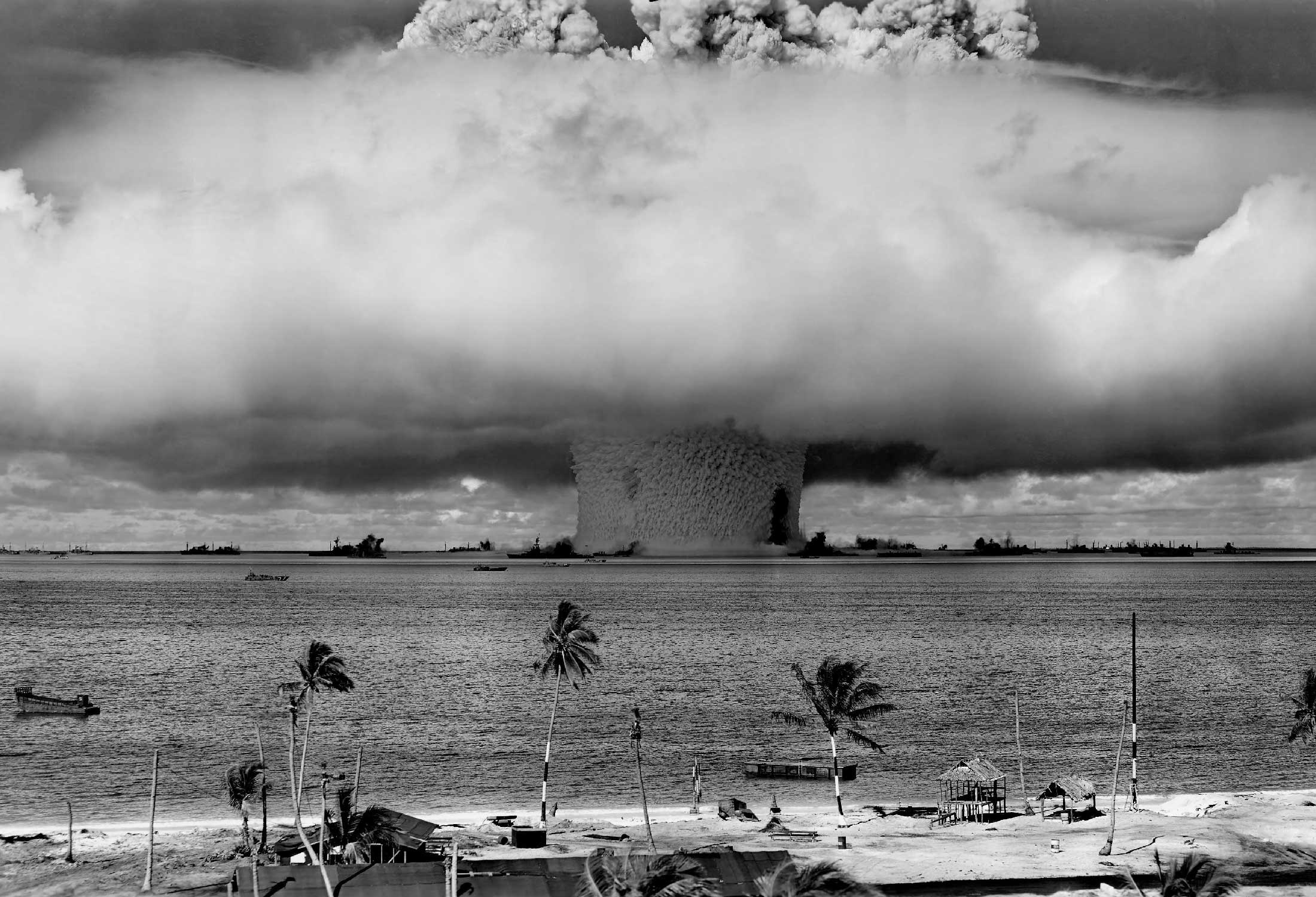 Nuclear bomb going off in coral islands